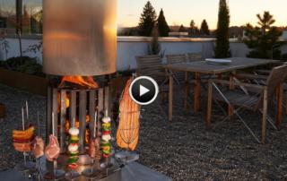 Mit dem Feuerrohr am Feuer sitzen und geniessen