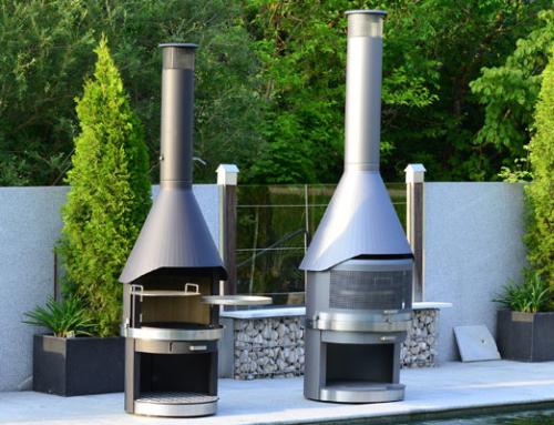 Fahrbare Edelstahl-Gartencheminées für Garten und Terrasse