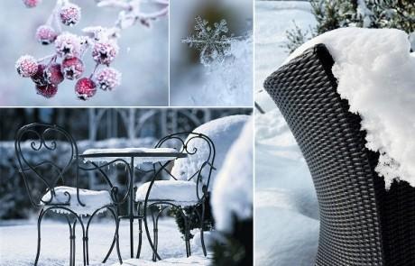 Gartenmöbel in winterlicher Stimmung