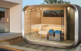 Modulare Outdoor-Sauna von Küng