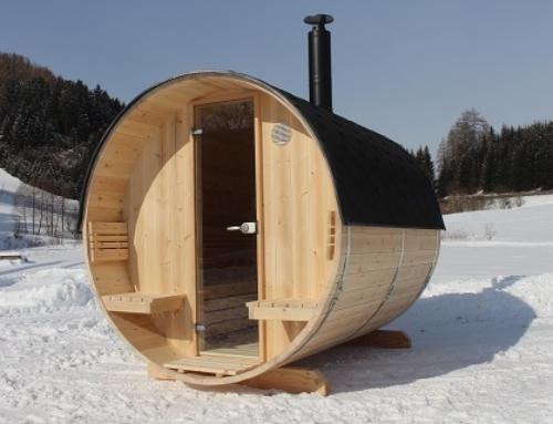 Fass-Sauna in Arvenholz – die Messeneuheit 2018!